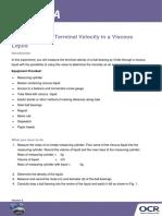 169860 Determining the Terminal Velocity in a Viscous Liquid Activity