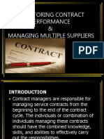 Monitoring Contract Performance & Managing Multiple Suppliers