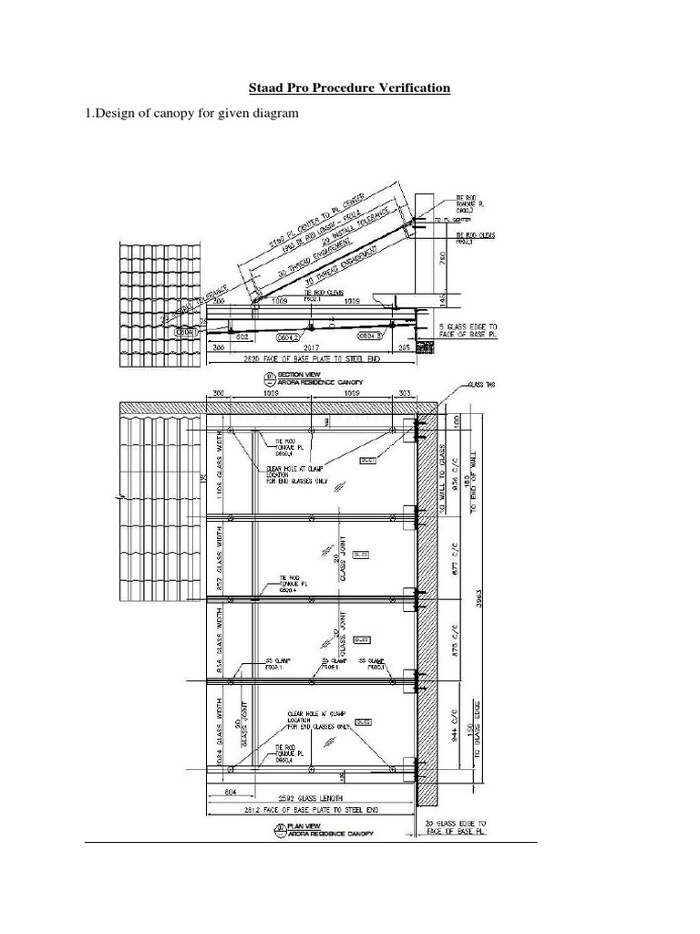 1.Design of canopy for given diagram: Staad Pro Procedure