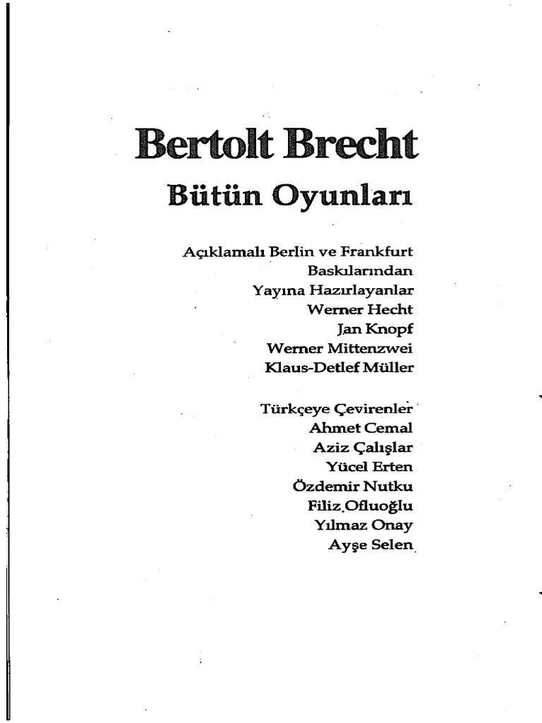 Bertolt Brecht Bütün Oyunları 9 Yılmaz Onay