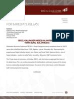 For Immediate Release Blatz Boiler House