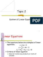 Topic 2 System of Linear Equations