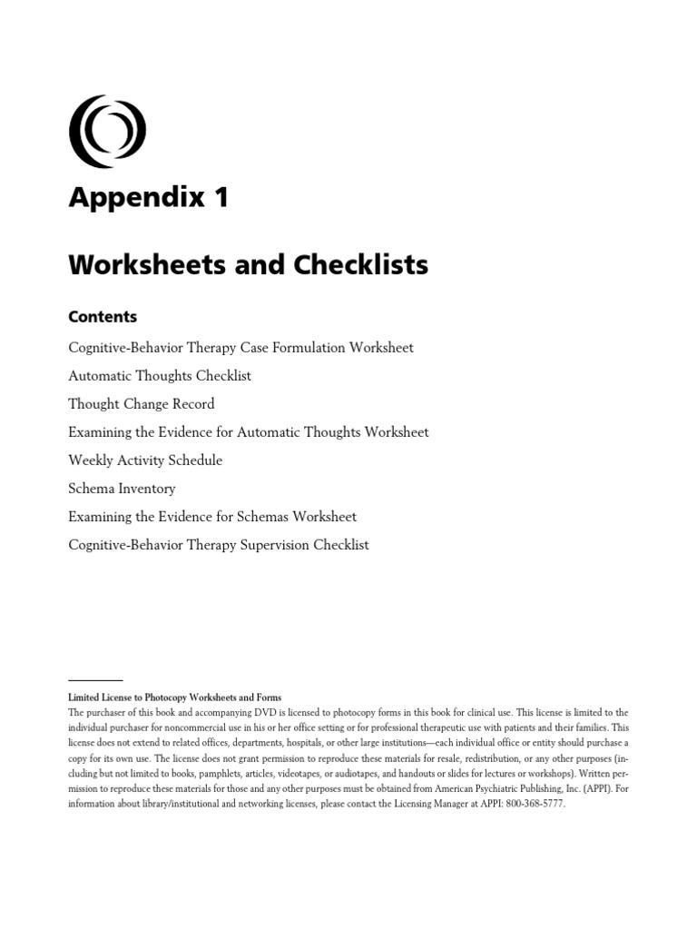 - CBT Worksheets Cognitive Behavioral Therapy Schema (Psychology)