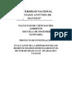 Trabajo de Invstigacion2017 1 de Residuos Solidos Domesticos en Barrio de Shancayan12
