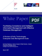 Facilitating Compliance and Intelligent Information Management With Effective Database Management Enterprise Strategy Group