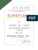Diploma, 1. Mjesto Školsko Prvenstvo u Krosu 2003.