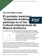 "El Quinteto Mexicano ""Ensamble Anáhuac"" Participa en El 3er. Festival Cultural Internacional de Música Sinfónica"