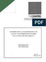 Contribucion Al Analisis Regional de Lluvias y Escurrimientos Maximos en La Cuenca Del Rio Grijalva