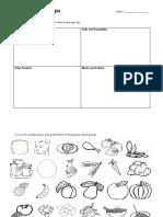 food group cut-and-paste worksheet