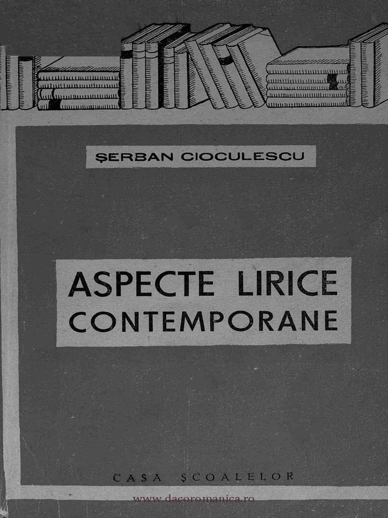 aspecte lirice contemporane Șerban cioculescu pdf