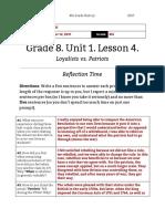 yossi moff - unit 1  lesson 4 - 8th grade - reflection  loyalists vs patriots