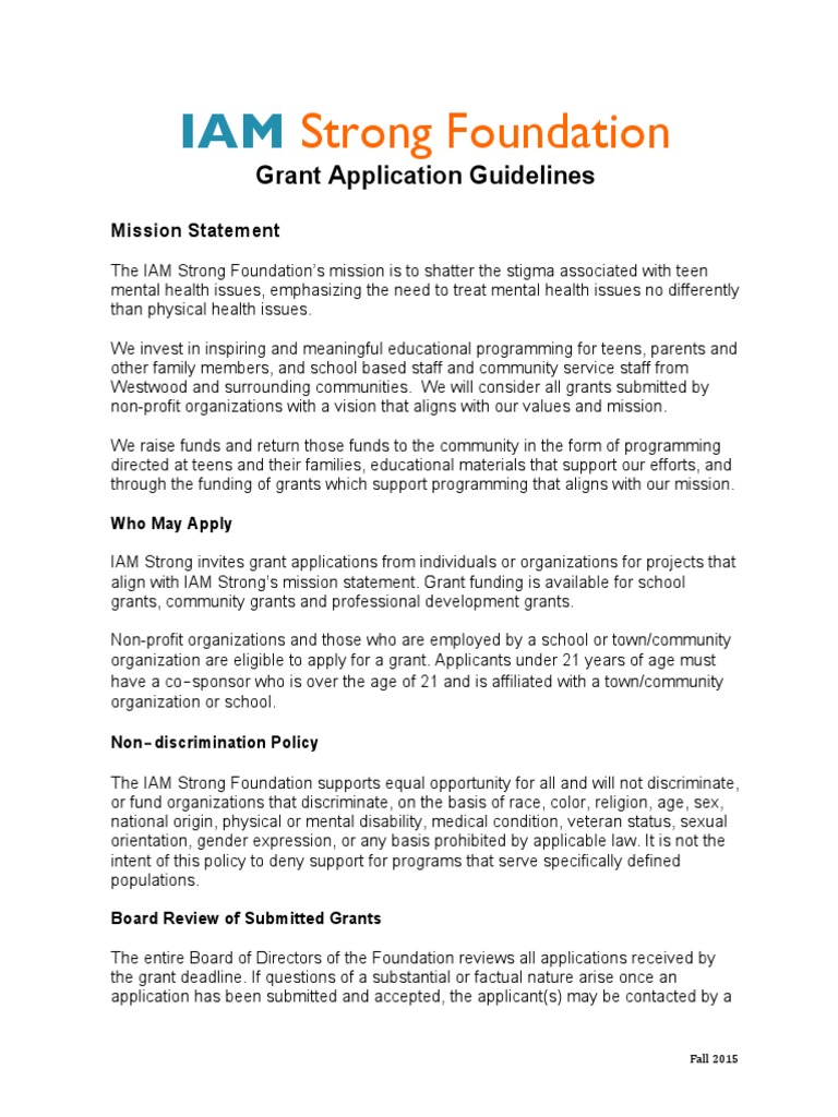 Grant Program and Guidelines | Discrimination | Family