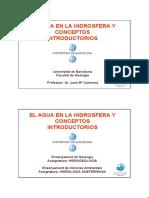 El Agua en La Hidrosfera y Conceptos Introductorios
