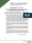 COMUNICADO PNP N° 15 - 2018