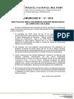 COMUNICADO PNP N° 17 - 2018