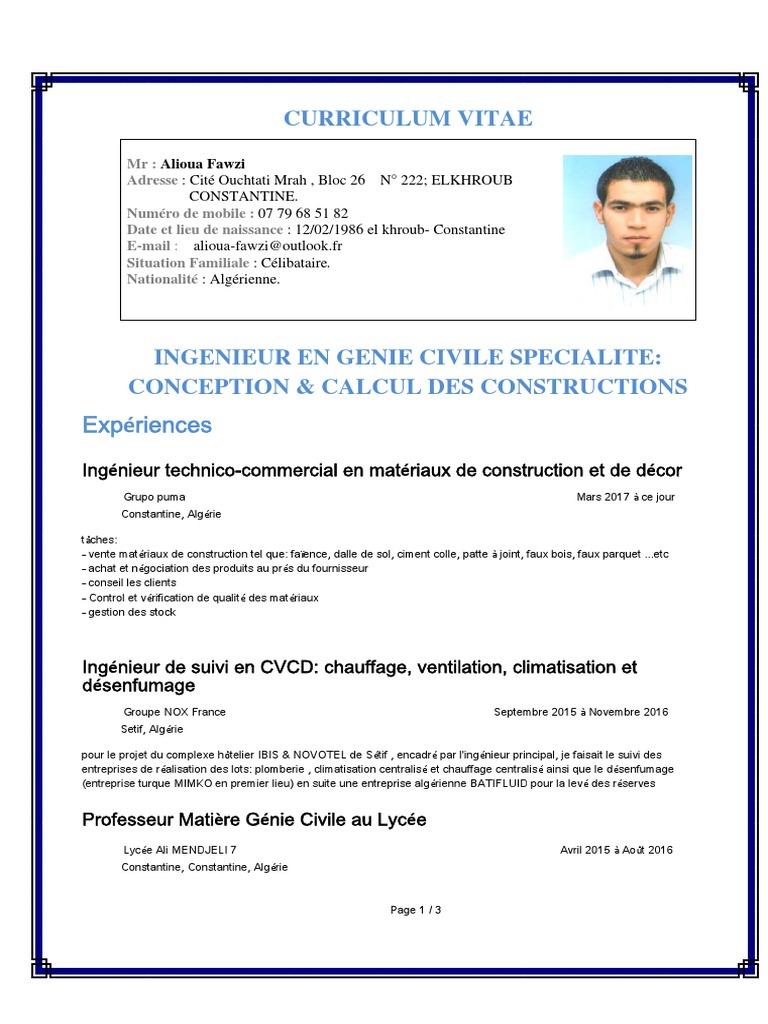 Curriculum Vitae Experiences Algerie œuvres Intellectuelles