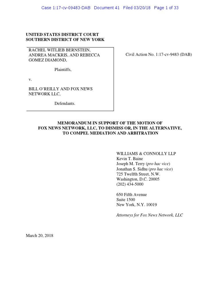 Oreilly Accusers V Fox Defamation Settlement Litigation