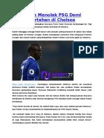 Kante Menolak PSG Demi Bertahan Di Chelsea