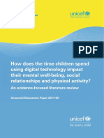 How does the time children spend using digital technology impact their mental well-being, social relationships and physical activity?
