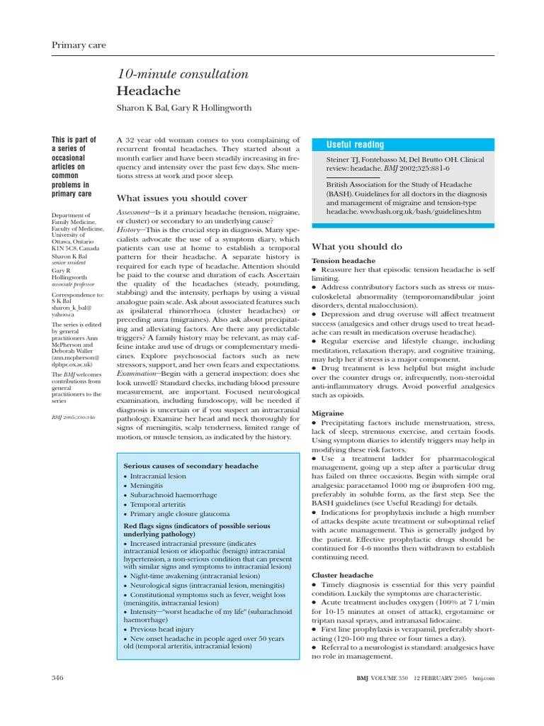 BMJ 10-minuteconsultationHeadache | Headache | Migraine