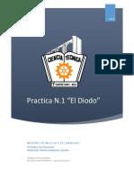 Practica de laboratorio , el diodo