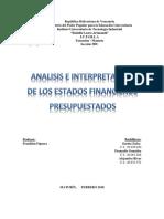 Análisis e Interpretación de Los Estados Financieros Presupuestados.