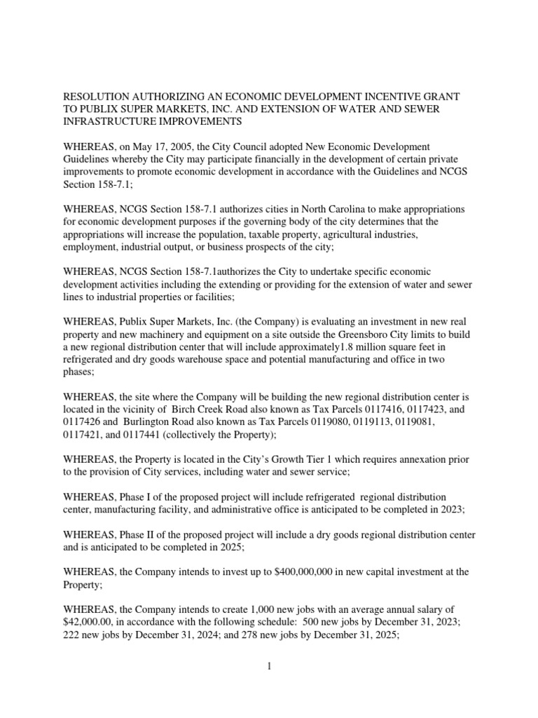 Greensboro City Council Resolution Approving Incentives for