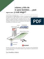 Bombas Solares y Kits de Conversión Para Bombeo
