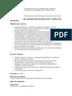 Carrera Tecnicatura Universitaria en Redaccion y Correccion de Textos