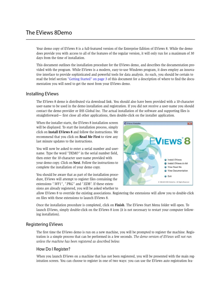 Eviews - demo_8 pdf | Installation (Computer Programs