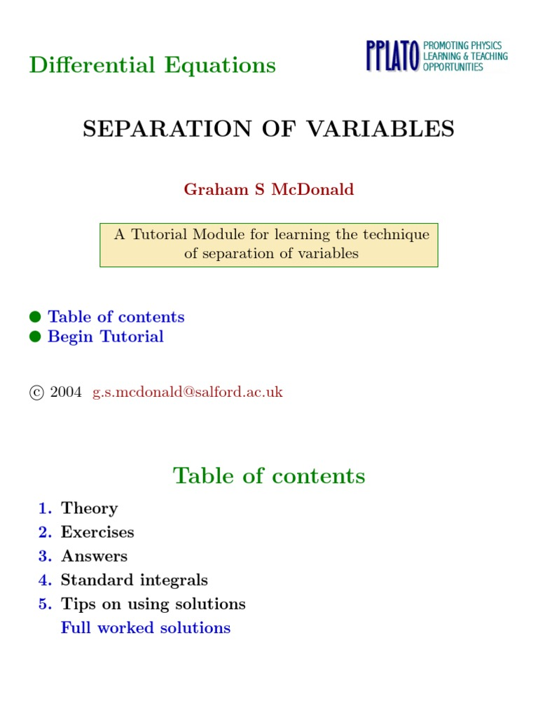 M2_02_Separation_of_Variables.pdf | Functions And Mappings | Differential  Equations