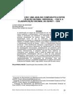 Artigo Classificacao CDU CDD