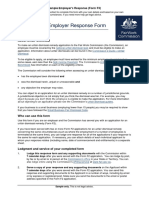 Sample Employer's Response to Unfair Dismissal Application