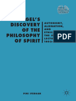 Pini Ifergan Hegels Discovery of the Philosophy of Spirit Autonomy, Alienation, And the Ethical Life the Jena Lectures 1802-1806