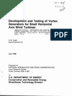 Development and Testing of Vortex Generators