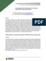 Análise de Riscos em projetos de construção civil com apoio multicritério a tomada de decisão