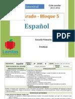 Plan 3er Grado - Bloque 5 Español