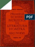 Dr. Nestor Vornicescu - Primele Scrieri Patristice in Literatura Noastra (Sec. IV-XVI)