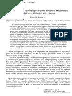 VHA en 1997Developmental Psychology and Biophilia Hypothesis Children s Affiliation With Nature Kahn