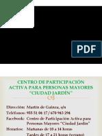 Presentación del Centro de Mayores Ciudad Jardín