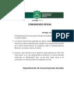 Comunicado Carabineros Bolivia
