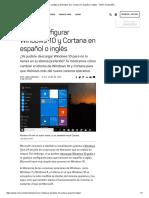 Cómo Configurar Windows 10 y Cortana en Español o Inglés - CNET en Español