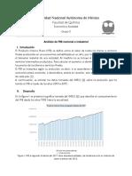Análisis de PIB nacional e industrial