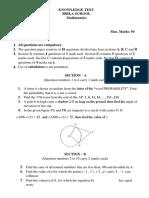 Knowledge Test (Class X Maths) Birla School 1