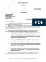 Letter to Governor McDonnell (9-14-10) Regarding Route 1 Homeless