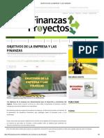 Objetivos de La Empresa y Las Finanzas