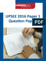 UPSEE 2016 Paper 1 Question Papers
