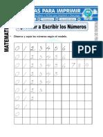Ficha de Aprendiendo a Escribir Los Números Para Primero de Primaria