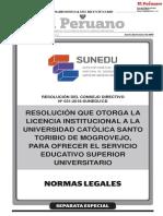 Resolución que otorga la Licencia Institucional a la Universidad Católica Santo Toribio de Mogrovejo para ofrecer el servicio educativo superior universitario