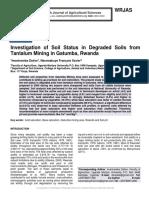 Investigation of Soil Status in Degraded Soils from Tantalum Mining in Gatumba, Rwanda